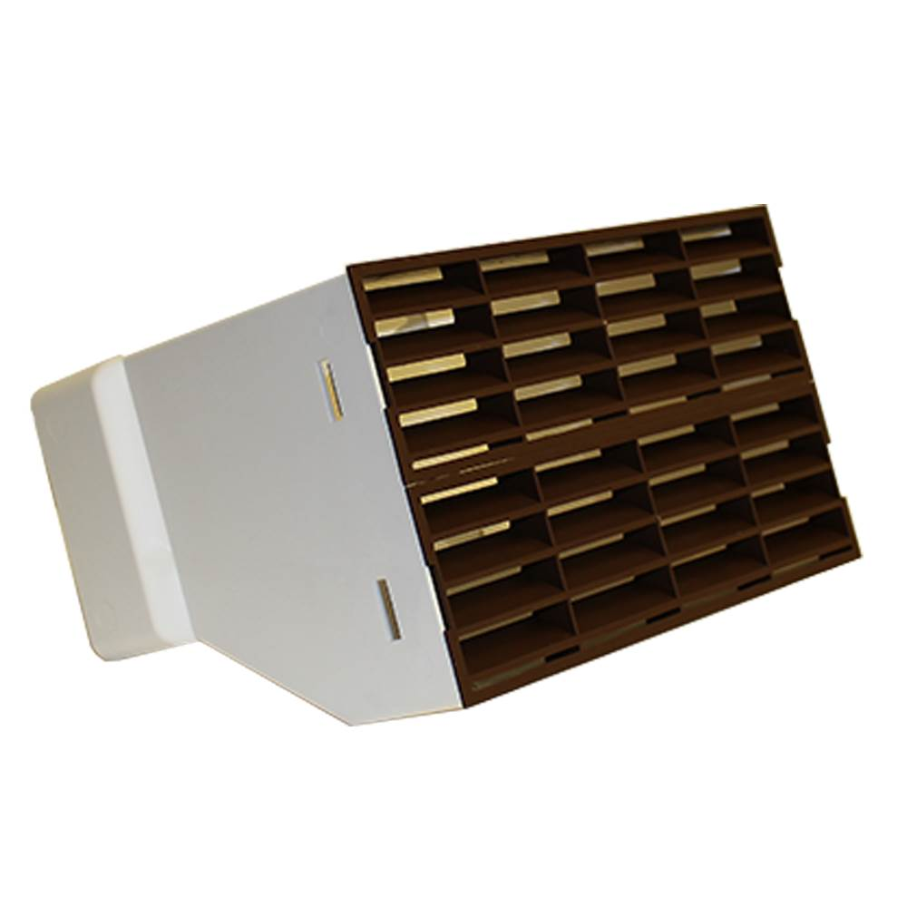 AA-DUCT015 220mm x 90mm rectangular Airbrick Adaptor with fitted grilles in Brown
