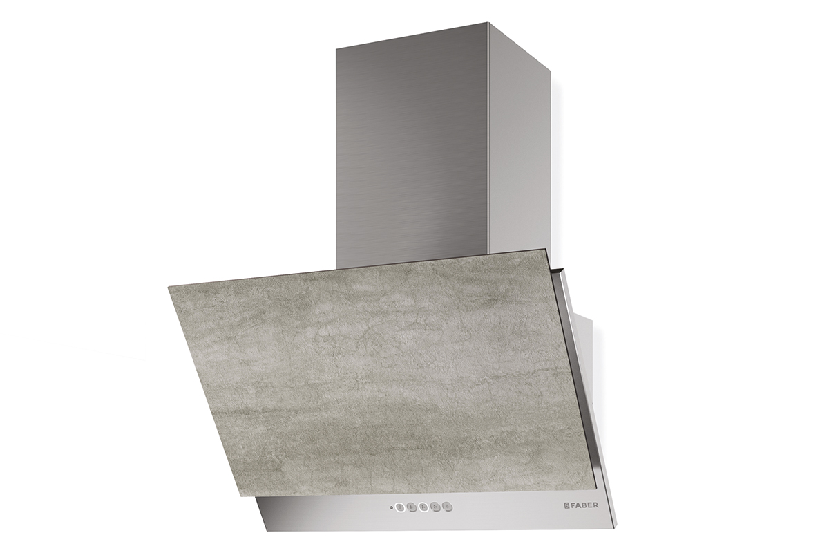 Faber GREXIA GRES LG/X A60 60cm wide cooker hood with light Grey Stoneware finish