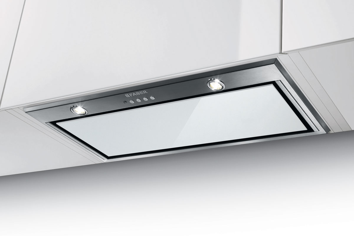 Faber Inca Lux Glass 52cm wide canopy hood with white glass panel
