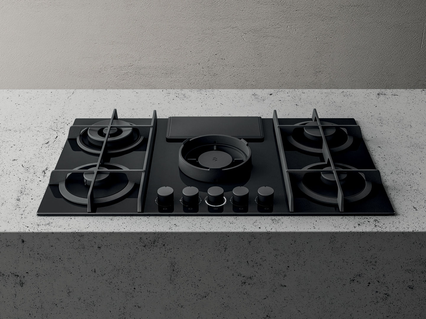 Elica Nikolatesla NT-FLAME-BLK-DO Black Air Venting Gas Hob- Duct Out version