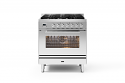 Ilve Roma P08CWE3/SS 80cm cooker with single 80cm oven and 5 gas burner top in stainless steel