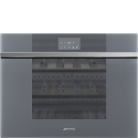 "Smeg CVI118LWS2 45cm Reduced Height ""Linea"" Compact WIFI Wine Cooler, Silver Glass,Left Hand Hinged"