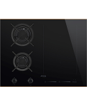Smeg PM6621WLDR 65cm Mixed Fuel Hob with Gas Burner and Induction MultiZone, Eclipse Black Glass with Copper Trim
