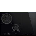 Smeg PM6721WLDR 75cm Mixed Fuel Hob with Gas Burners and Induction MultiZone, Eclipse Black Glass with Copper Trim