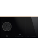 Smeg PM6912WLDR 90cm Mixed Fuel Hob with Gas Burner and Induction MultiZones, Eclipse Black Glass with Copper Trim