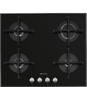 "Smeg PV164N2 60cm ""Linea"" Gas on Glass hob, Black"