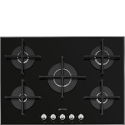 "Smeg PV175N2 72cm ""Linea"" Gas on Glass hob, Black"