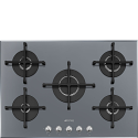 "Smeg PV175S2 72cm ""Linea"" Gas on Glass hob, Silver glass"