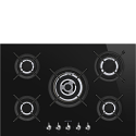 "Smeg PV375CN 75cm ""Classic"" Gas on Glass Ceramic Hob, Black Glass"