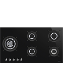 "Smeg PV395LCN 90cm ""Classic"" Gas on Glass Ceramic Hob, Black Glass"