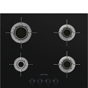 Smeg PVL664CN 60cm Gas on Glass Ceramic Hob, Eclipse Black Glass