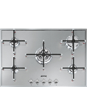 "Smeg PX7502 74cm ""Linea"" Ultra Low Profile Gas Hob, Stainless Steel"