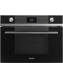 "Smeg SF4102MCN ""Linea"" Compact Combination Microwave Oven, Black"