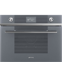 "Smeg SF4102VCS ""Linea"" Compact Combination Steam Oven, Silver Glass"