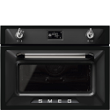 "Smeg SF4920MCN1 ""Victoria"" Traditional Compact Combination Microwave Oven, Black"