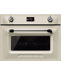 "Smeg SF4920MCP1 ""Victoria"" Traditional Compact Combination Microwave Oven, Cream"