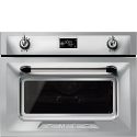 """Smeg SF4920MCX1 """"Victoria"""" Traditional Compact Combination Microwave Oven, Stainless Steel"""
