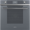 "Smeg SFP6101TVS ""Linea"" Pyrolytic Multifunction Oven, Silver Glass"