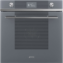 "Smeg SFP6102TVS ""Linea"" Pyrolytic Multifunction Oven with Soft Close Door, Silver Glass"