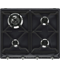 "Smeg SR964NGH 60cm ""Victoria"" Traditional Gas Hob, Black"