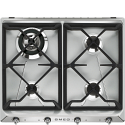 "Smeg SR964XGH 60cm ""Victoria"" Traditional Gas Hob, Stainless Steel"