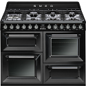 "Smeg TR4110BL1 110cm ""Victoria"" Traditional Dual fuel 4 cavity Cooker with Gas hob, Gloss Black"