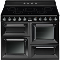 "Smeg TR4110IBL 110cm ""Victoria"" Traditional 4 cavity Cooker with Induction Hob, Black enamel finish"