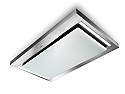 Faber SkyPad 120cm Wide Ceiling Hood in Stainless Steel and White Glass
